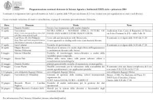 Programmazione seminari dottorato in Scienze Agrarie e Ambientali